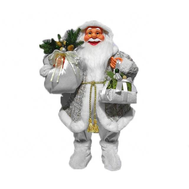 Wholesale White noel 60 cm Standing fabric Santa Claus indoor Christmas decor figurine