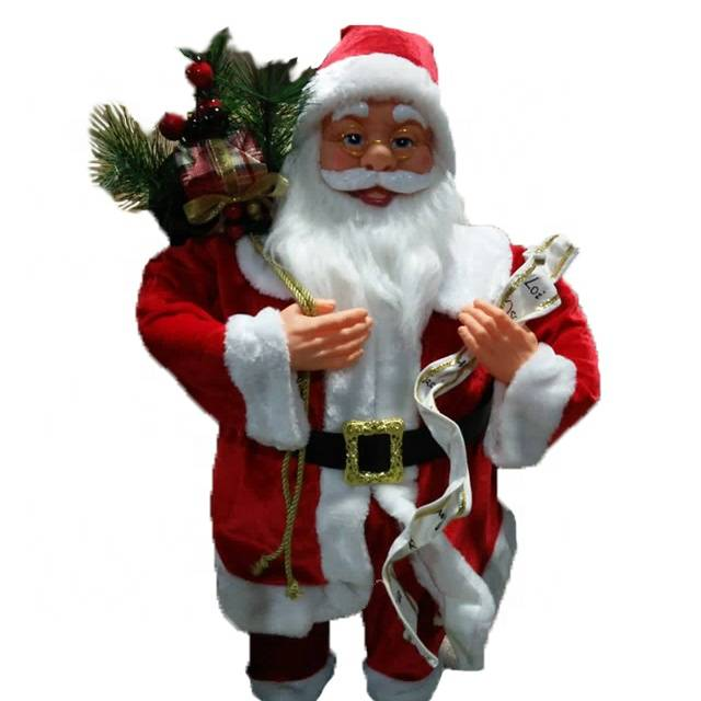 OEM Christmas decor Big size 80 cm noel fabric Standing Santa Claus with mistletoe gift bag