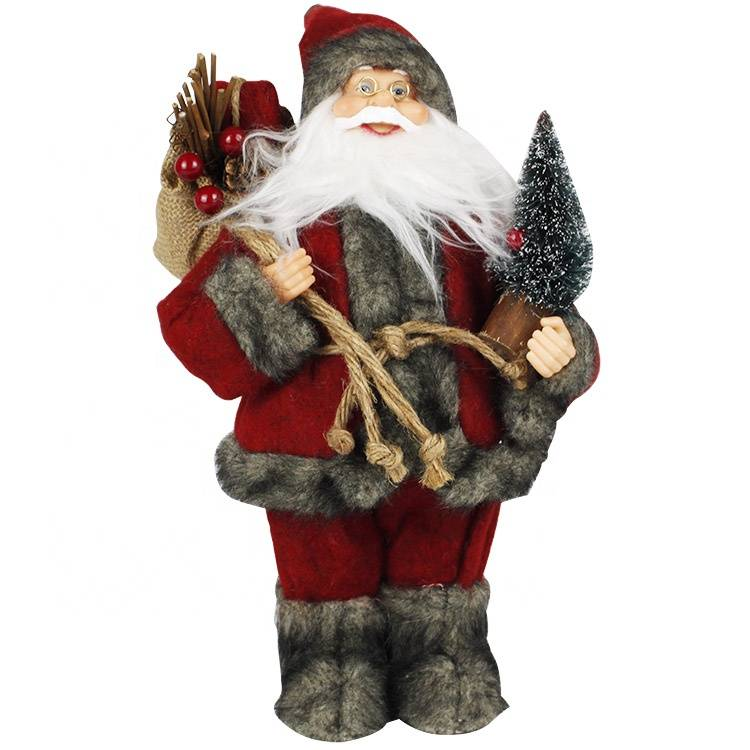 Melody 30cm Traditional Christmas figure Fabric standing Santa Claus with gift sack