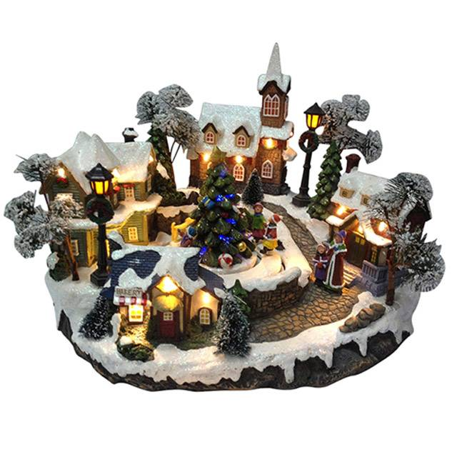 Illuminated polyresin christmas village musical christmas house decoration