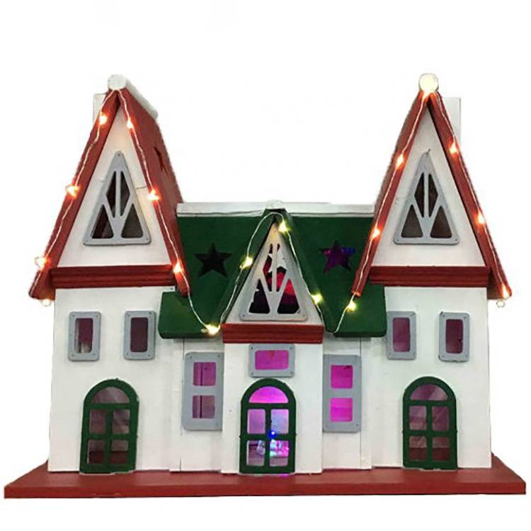 Professional Design Solar Decorative Lights Outdoor - Christmas village scene paper led xmas wooden home decoration – Melody