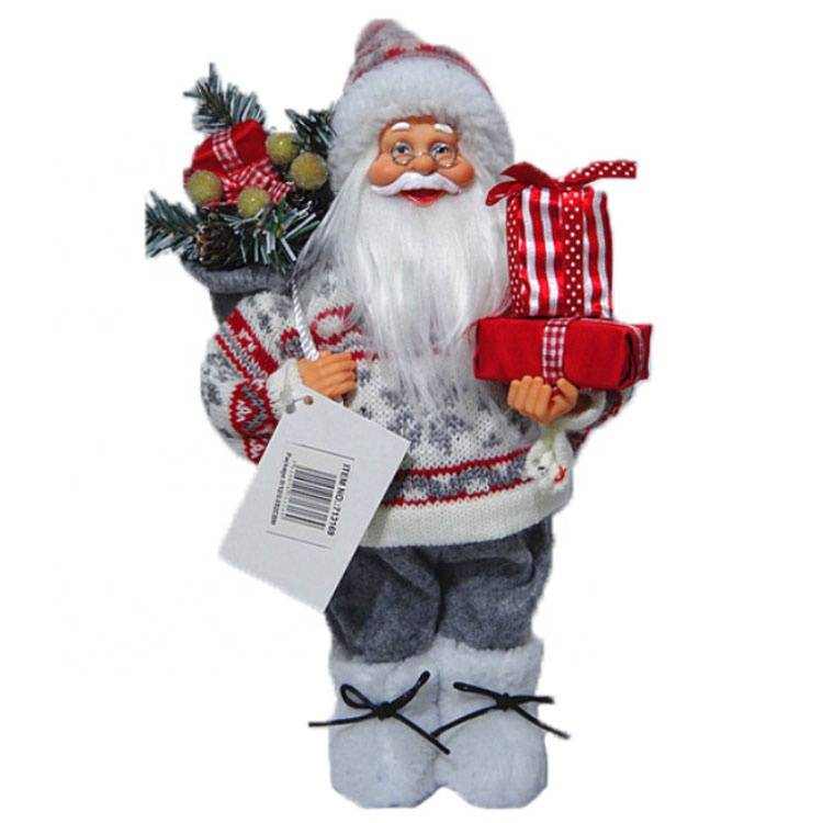 Wholesale delicate Xmas plush and plastic doll, standing Christmas 30cm Santa Claus figurine with mistletoe bag