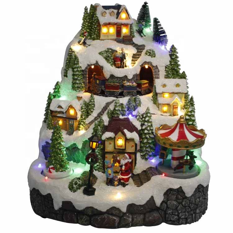 Custom magic eco lo wes polyresin le max animated led musical train Christmas village house