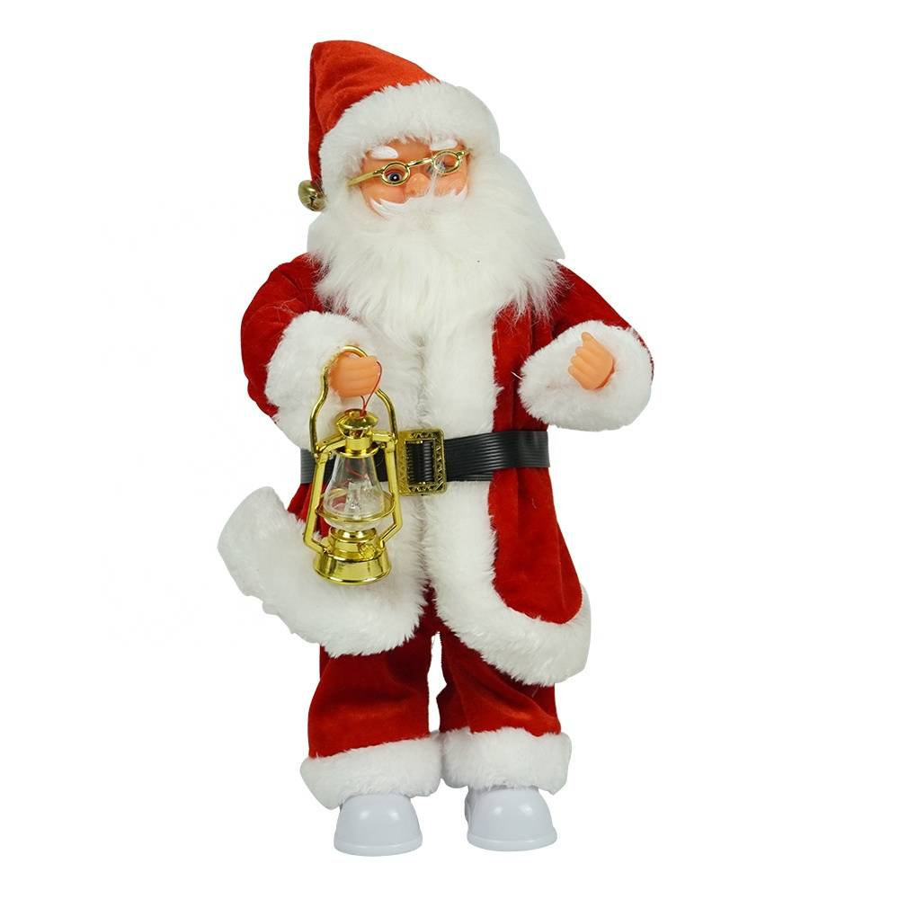 Wholesale seasonal decor gift noel Plastic Animated Standing Christmas Santa Claus figurine in Fabric Clothes