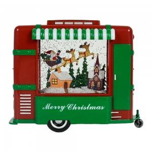 MELODY LED light up food truck Xmas Scene giltter swirling water lantern Christmas snow globe