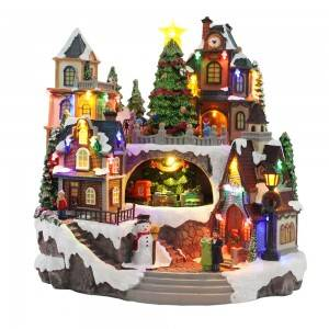 Wholesale custom made new design Led musical resin Christmas Village figurine decoration with movement