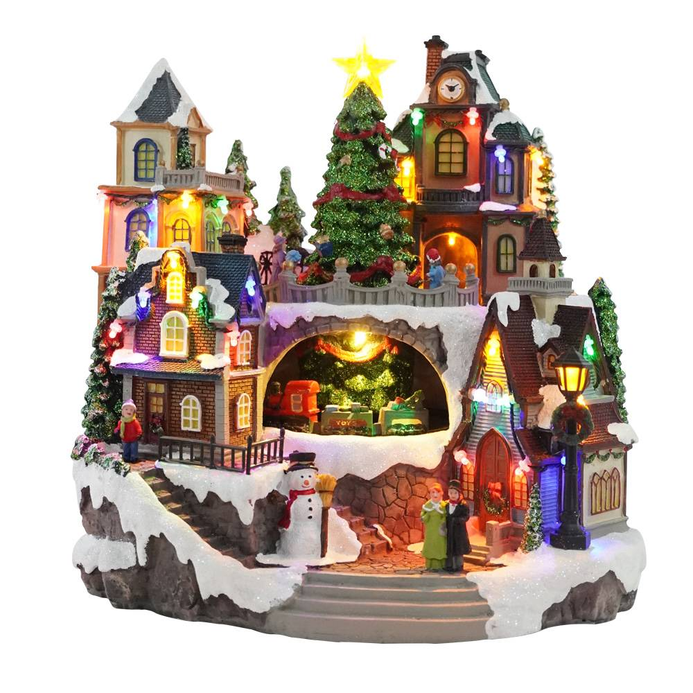 Wholesale custom made new design Led musical resin Christmas Village figurine decoration with movement Featured Image