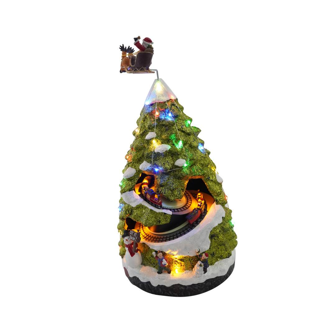 Wholesale custom made rotating noel Xmas scene Led musical Polyresin Christmas tree with movement