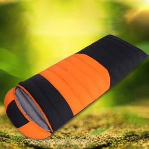 Two-color stitching irregular envelope sleeping bag can be filled with down in winter