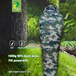 Camouflage shell waterproof rip-stop portable military sleeping bag for extremely cold weather