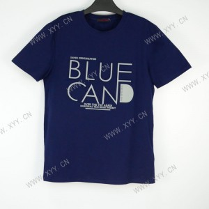 Men's dark blue letter embossed short-sleeved T-shirt  B300165