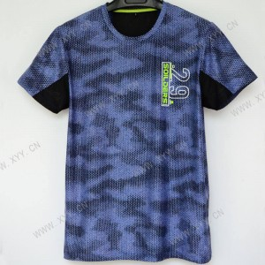 Men's Navy Blue Printed Short Sleeve Fashion T-shirt  SH-693