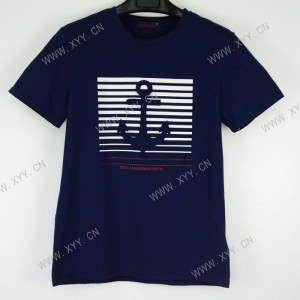 Men's dark blue embossed printed short-sleeved T-shirt  B300168