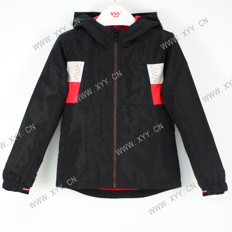 Boys Black Hooded Fashion Reflective Striped windbreaker SH-920 Featured Image