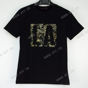 Men's black embroidered patch short-sleeved T-shirt B300166