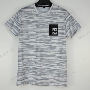 Men's white printed round neck sports short sleeve T-shirt  SH-692