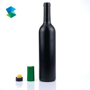 Wholesale 750ML Frosted Matte Black Ice Glass Wine Bottle