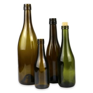 China high quality 180ml 375ml 750ml amber Burgundy empty wine bottle with screw