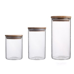 High borosilicate jar jars sealed glass jar with bammboo lid