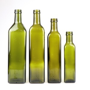Wholesale 1 liter 750ml 500ml 250ml green empty olive oil glass bottle with screw cap