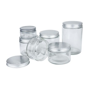 Popular Sealed Straight Round glass bottle honey jar with Aluminum Lid for storage