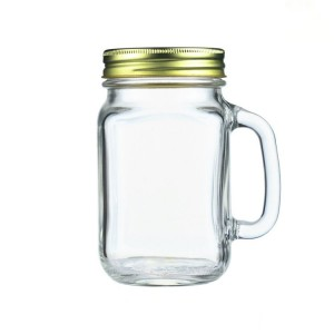 400ml 450ml Milk tea cup mason jar glass cup with handle and straw