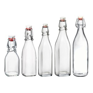 Square clasp bottle sealed bottle beverage bottles wholesale glass bottle