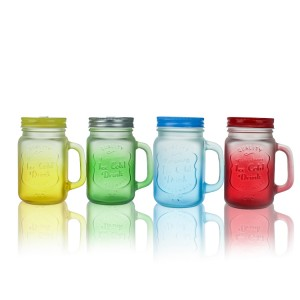 Frosted Gradient color Mason jar Milk tea cup Beverage cup with handle and lid