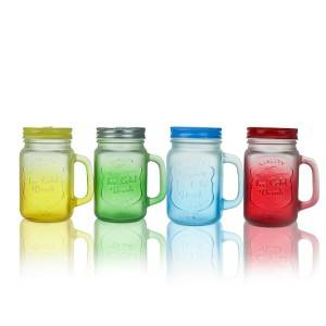 Creative frosted gradient glass mason jar juice drink milk tea cup with handle straw