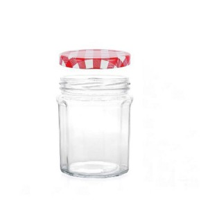 Empty French Bonne Maman jars Clear Glass Jam Jar with Gingham Lid