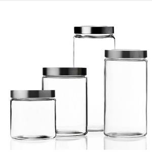 China high quality cylindrical glass sealed storage jar with stainless steel lid