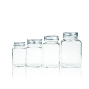 Wholesale square shaped honey glass jar jam jar with aluminum lid