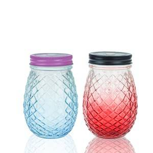 Tinted pineapple shaped glass mason jar with straw