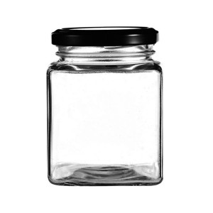 Wholesale Clear Square Glass Honey Jar empty glass honey jar with metal lid for jam