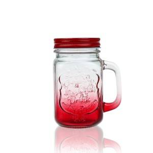 Colored Wide mouth glass bottle straw juice glass Mason jars with handle