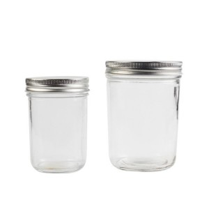 Manufacturer supplier glass clear caviar jam jar kitchen storage jars with lids