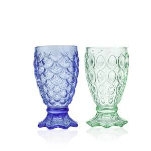 Creative Mermaid Embossed fish scale glass water cup drink fruit juice cocktail