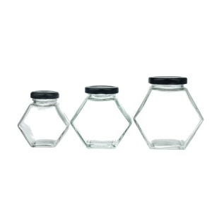 Hot Selling Hexagon Shape Glass honey Jar with Lids for kitchen