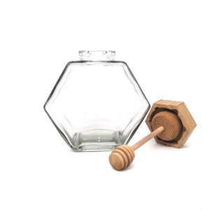 Customizable Hexagon Empty Glass Honey Jar with Dipper