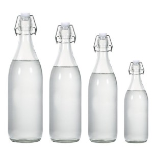 Manufacturer transparent Round clip glass beverage juice bottle enzyme bottle with  Lid