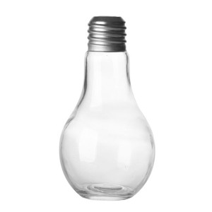 Creative Light bulb juice bottle drink water glass with straw