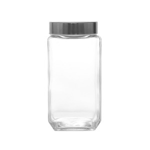 Kitchen square Glass storage jar sealed tank with stainless steel lid
