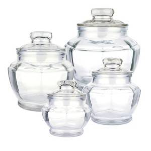 Wholesale octagonal large glass food storage Canisters pickle jar for kitchen