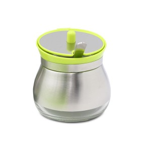 Seasoning Jar glass spice jars Seasoning Bottle with Stainless Steel Shell and Spoon