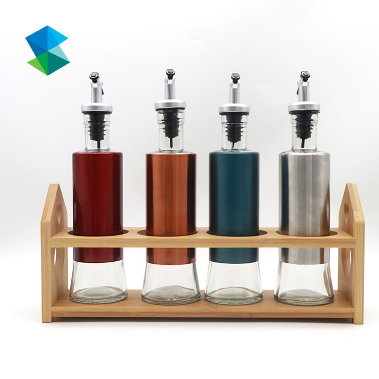 Cooking Oil sauce glass Bottles with pour spout and stainless steel shell Featured Image