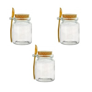 Kitchen 150ml Round Empty Clear Food Honey Storage Glass Bottle Jars with Wooden Spoon and cork