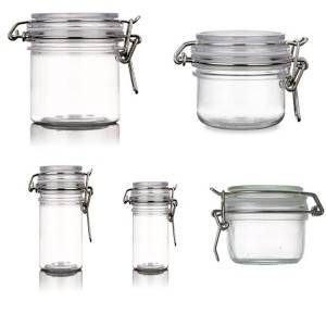 Mini glass sealed storage honey jar with stainless steel clip