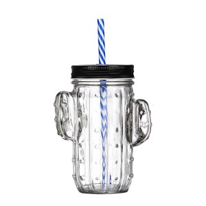 Wholesale Cute cactus Glass Mason Cup Beverage Cup Mug With Lid And Straw
