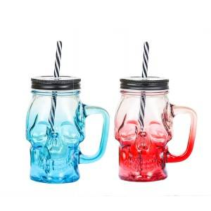 Creative Straw juice cup gradient colored Mason jar Skull Glass cup with lid