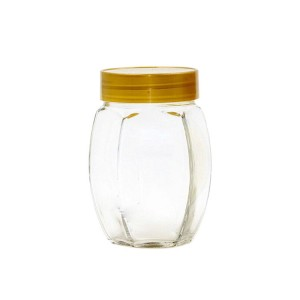 Popular big belly honey bottle glass hexagon honey jar with aluminum lid